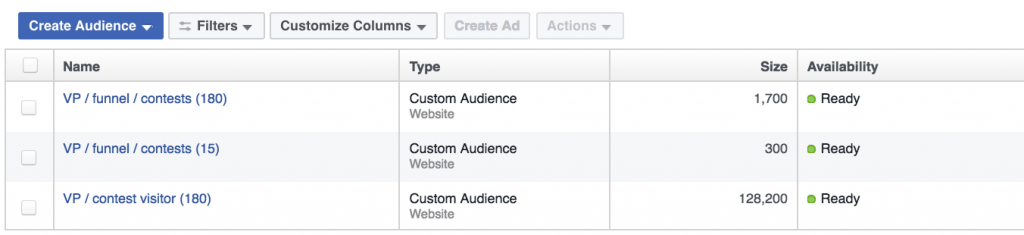 custom audiences from contests