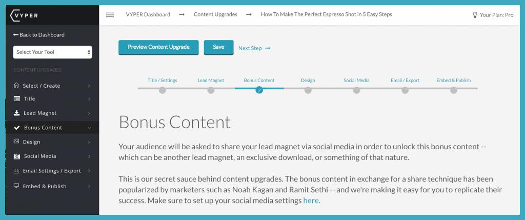 vyper content upgrade dashboard