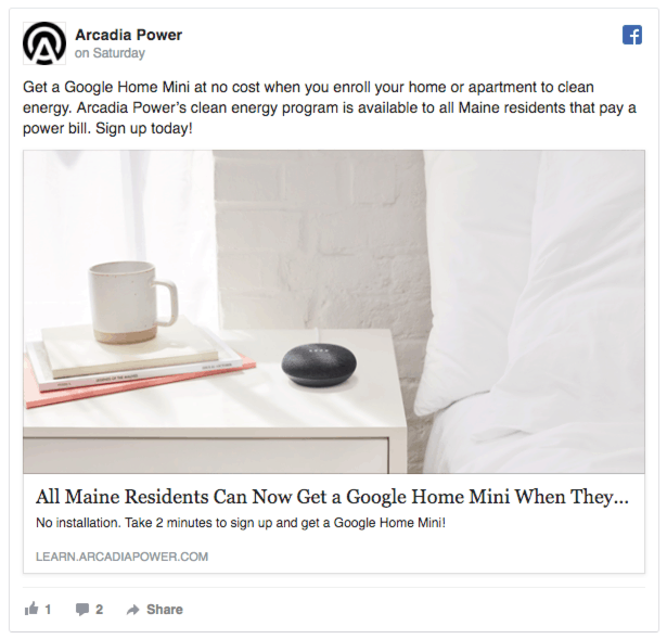 arcadia power facebook ads