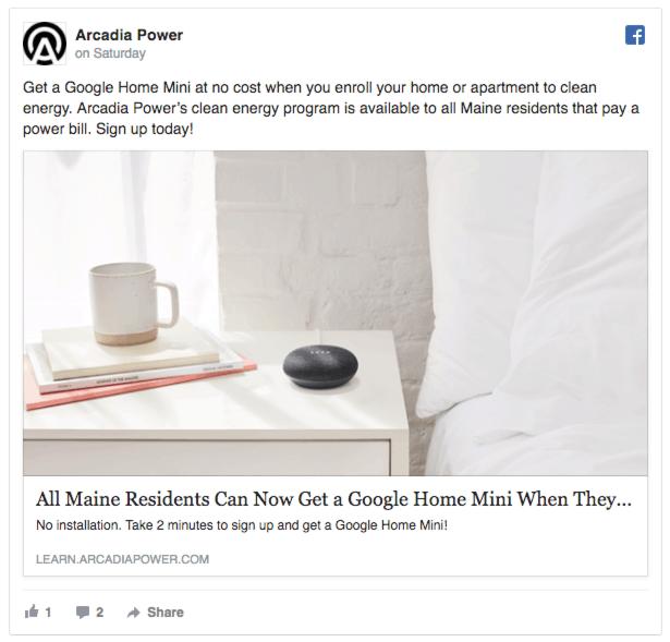 arcadia power facebook ads