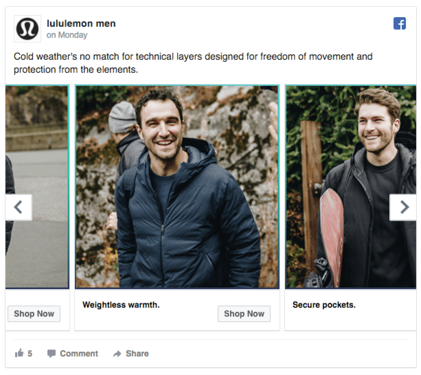lululemon men facebook ads