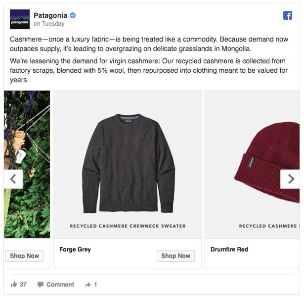 patagonia facebook ads