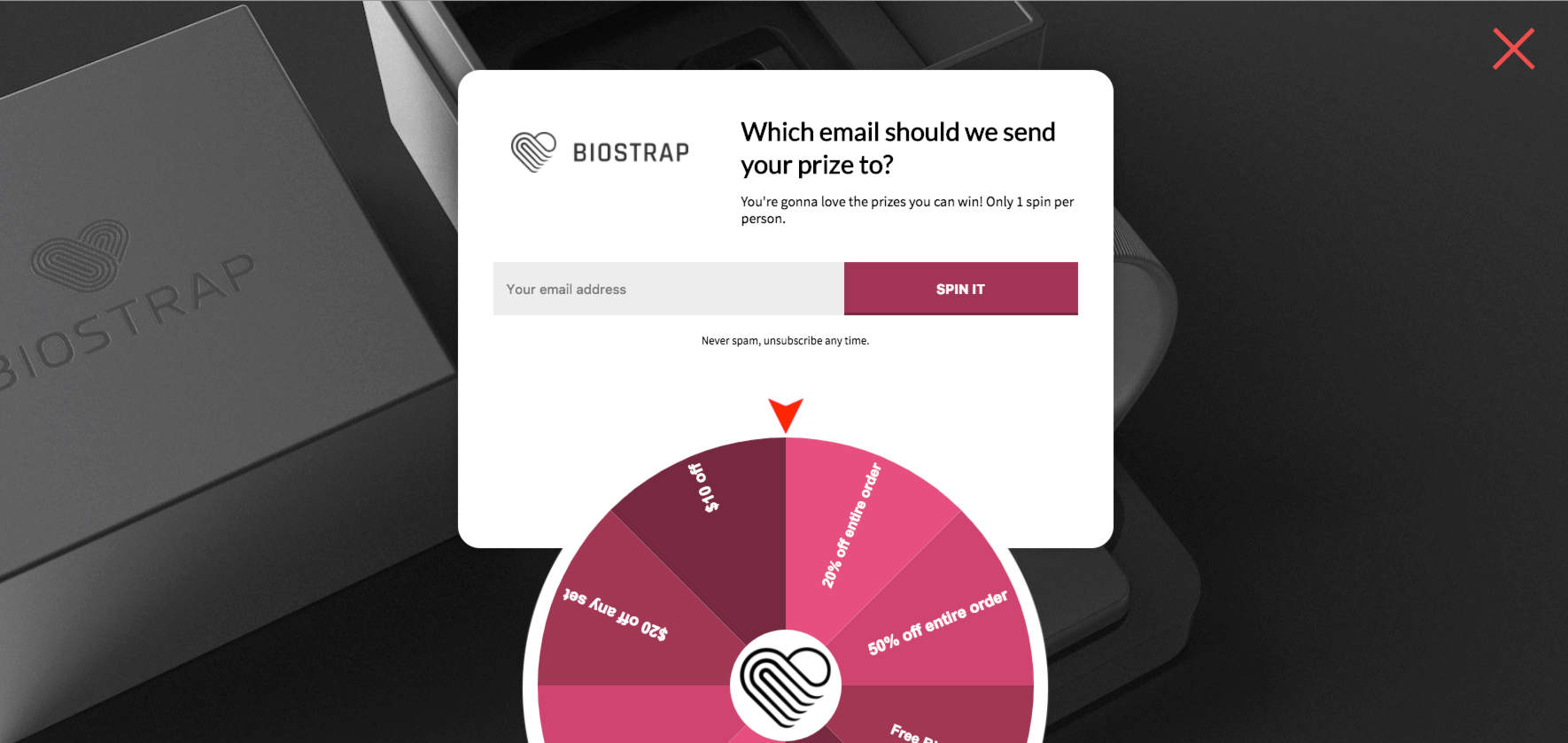 biostrap 8xd popup conversion rate