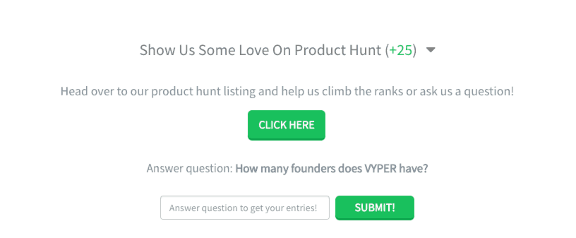 VYPER community submission growth custom entry